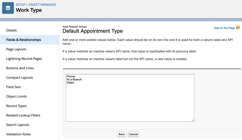 The Add Picklist Values page for the Default Appointment Type field (in the Work Type Group object), with values for Cumulus Bank's Pittsburgh CBD branch entered.