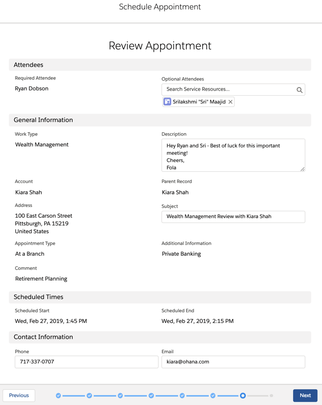 The Review Appointment page that summarizes all of Fola's input's for Ryan's appointment with Kiara