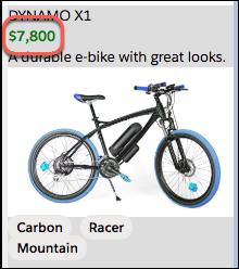 価格のスタイルによってテキストが緑色の太字になります。