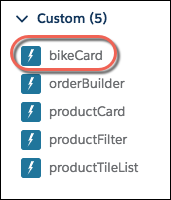 The bikeCard component option in Lightning App Builder Custom component menu.