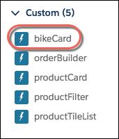 Lightning アプリケーションビルダーの [カスタム] コンポーネントメニューの bikeCard コンポーネントオプション。