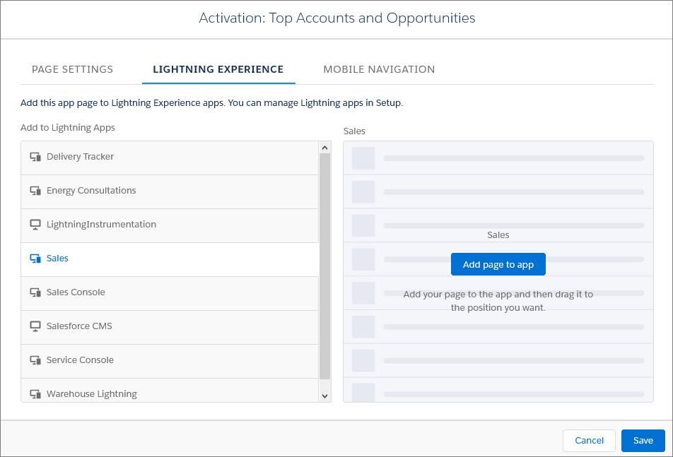 Aktivieren der Anwendungsseite für Lightning Experience