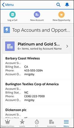 Page d'accueil d'application sur un téléphone