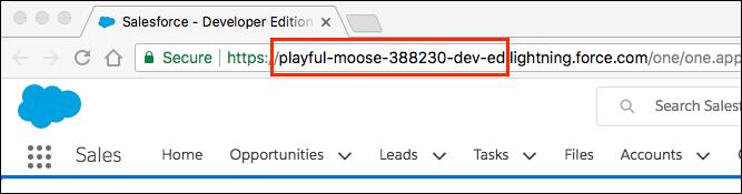 In einem Trailhead Playground-URL hervorgehobener Name von 'Meine Domäne'