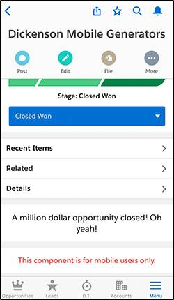 Página Oportunidad en la aplicación móvil Salesforce