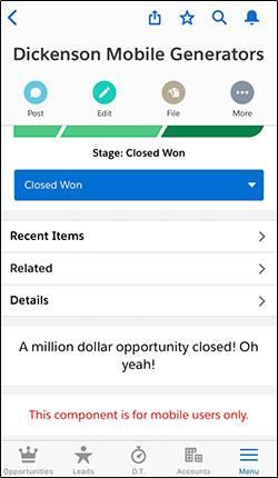 Página de oportunidade no aplicativo móvel Salesforce
