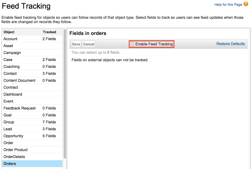 Enable Feed Tracking checkbox