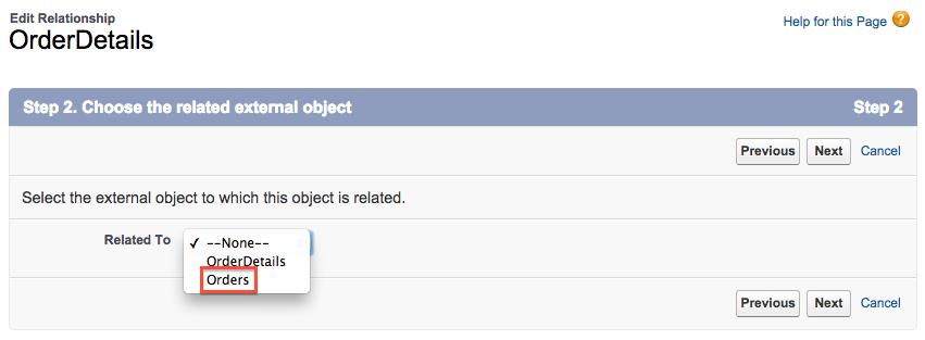 Wählen Sie das zugehörige externe Objekt aus.
