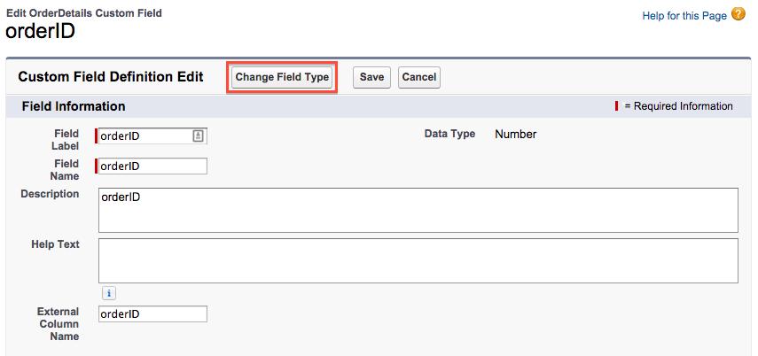 Modifiez les détails de l'ID de la commande.
