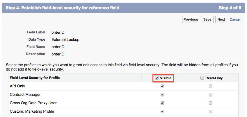Spécification de la FLS (sécurité au niveau du champ) de la relation de référence externe.