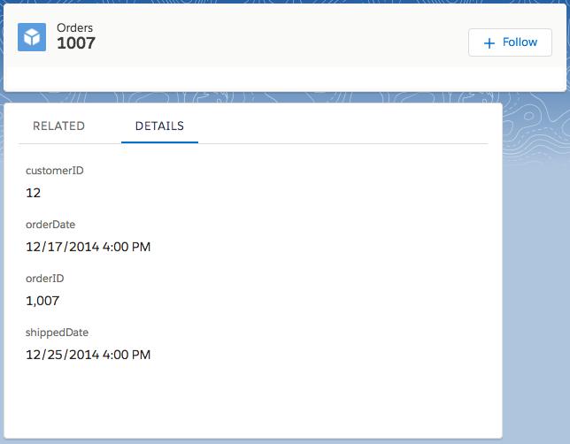 Fil de l'enregistrement sur la page de détail de l'objet externe