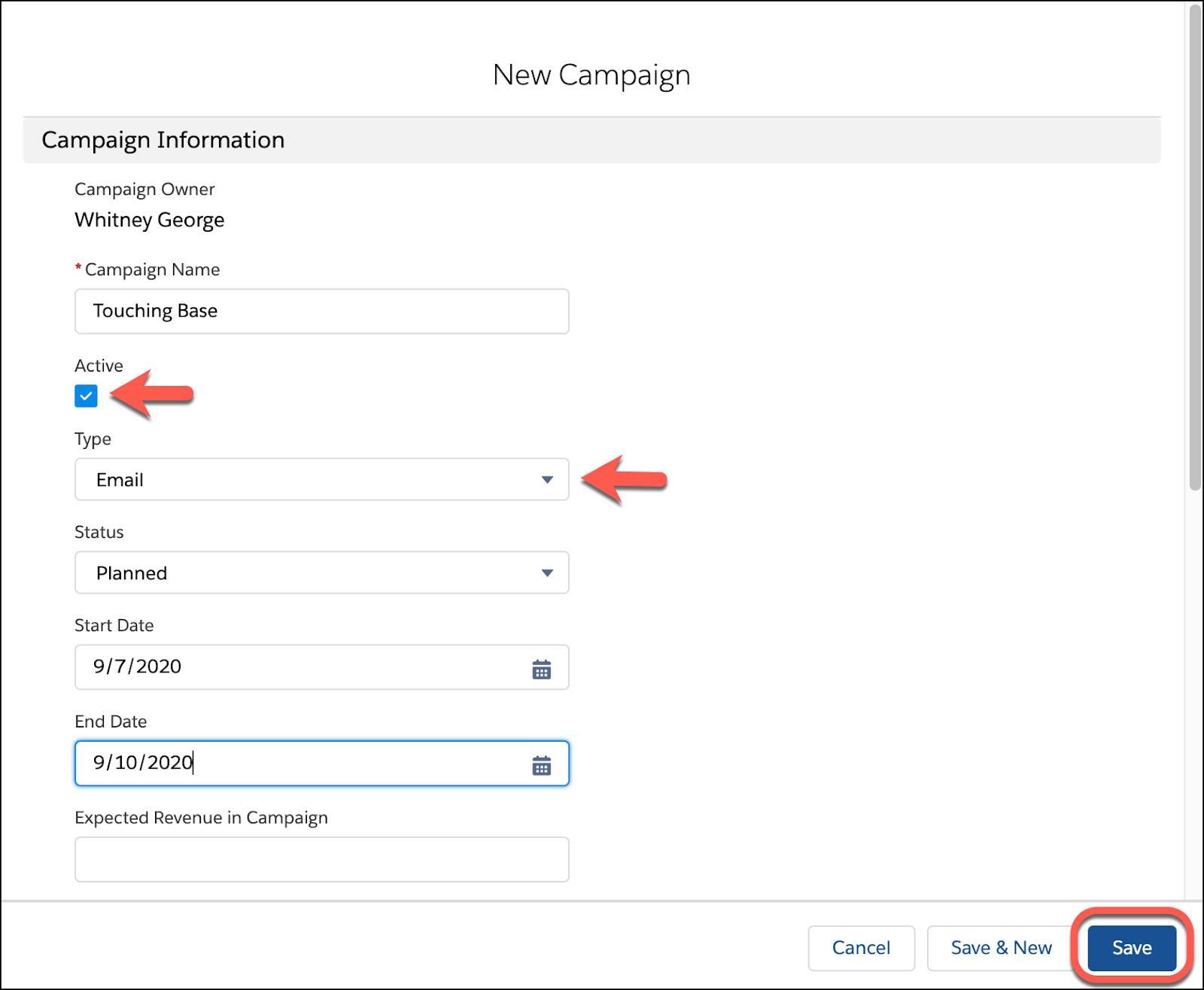 キャンペーンの詳細を入力し、[保存] をクリックします。