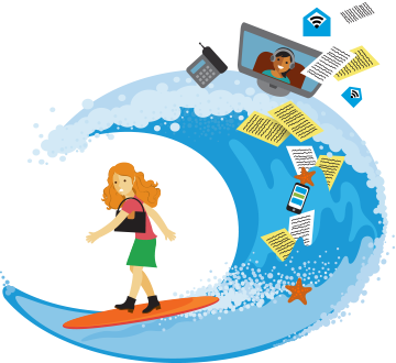 Woman dressed in work clothes, but on a surf board with many work-related items flying in the waves.