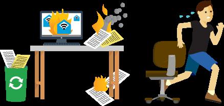 Brennende Unterlagen auf einem Schreibtisch; Mann flieht in Panik