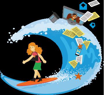 仕事用の服を着た女性がサーフボードに乗っていますが、さまざまな仕事道具が波で飛び散っています。
