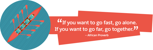 「早く行きたければ 1 人で行きなさい。遠くまで行きたければ、みんなで行きなさい」アフリカのことわざ