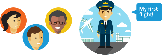 笑顔のパイロットが「私の初フライトです!」と言っています。乗客は不安そうに見えます。
