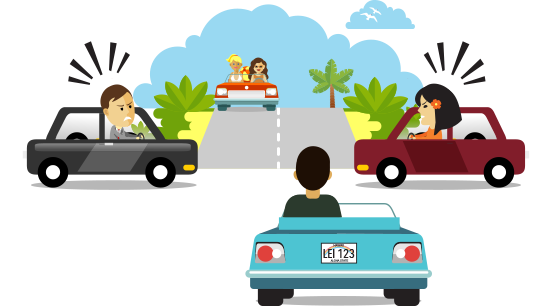 Various drivers at an intersection, emotions around who has the right-of-way