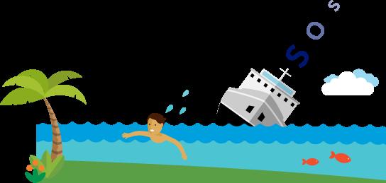 S-O-S 信号を発しながら沈没しゆく船から、岸に向かって泳いでくる人