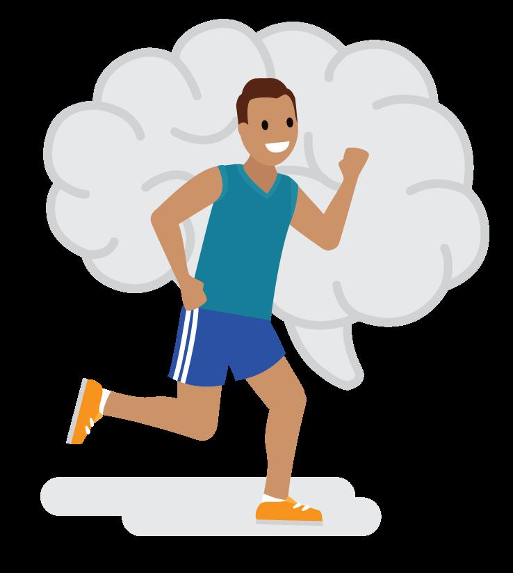 Jogger mit wachstumsorientierter Haltung vor einem Bild von einem Gehirn