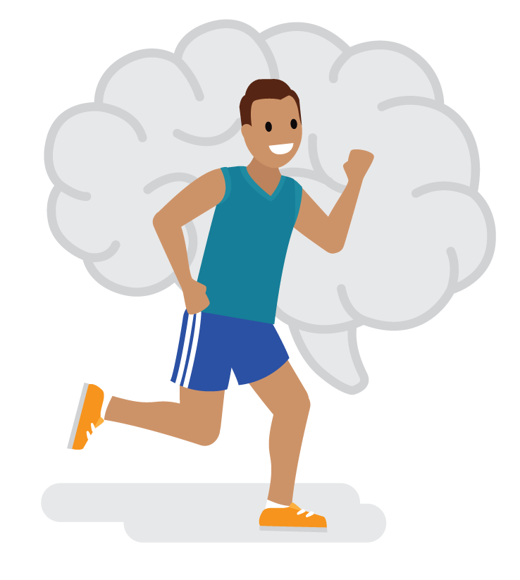 Growth mindset jogger running through image of a brain