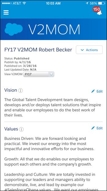 2 万人超の従業員の中から任意の誰かの V2MOM を携帯電話で検索して閲覧し、その人物の人となりを知ることができます。