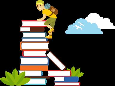 Cartoon of hiker climbing books