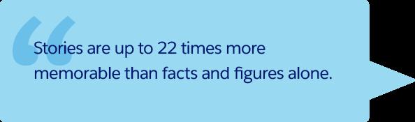 「ストーリーは単独の事実や数値よりも最大 22 倍も覚えやすいのです。」