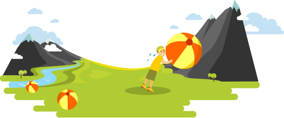 Cartoon of camper pushing beachball up a mountain