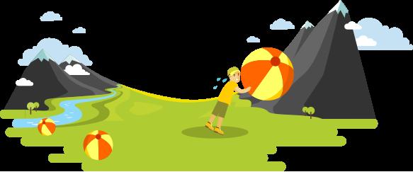 ビーチボールを山に押し上げようとしているキャンパーの漫画