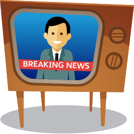 Cartoon of an old TV set with breaking newcast