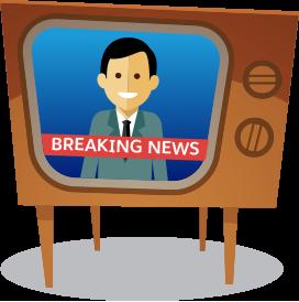 ニュース速報が映っている古いテレビの漫画