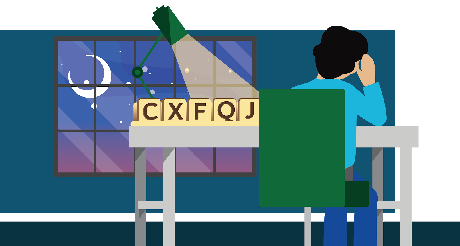 A person sitting at a desk looking at oversized scrabble letters: CXFQJ