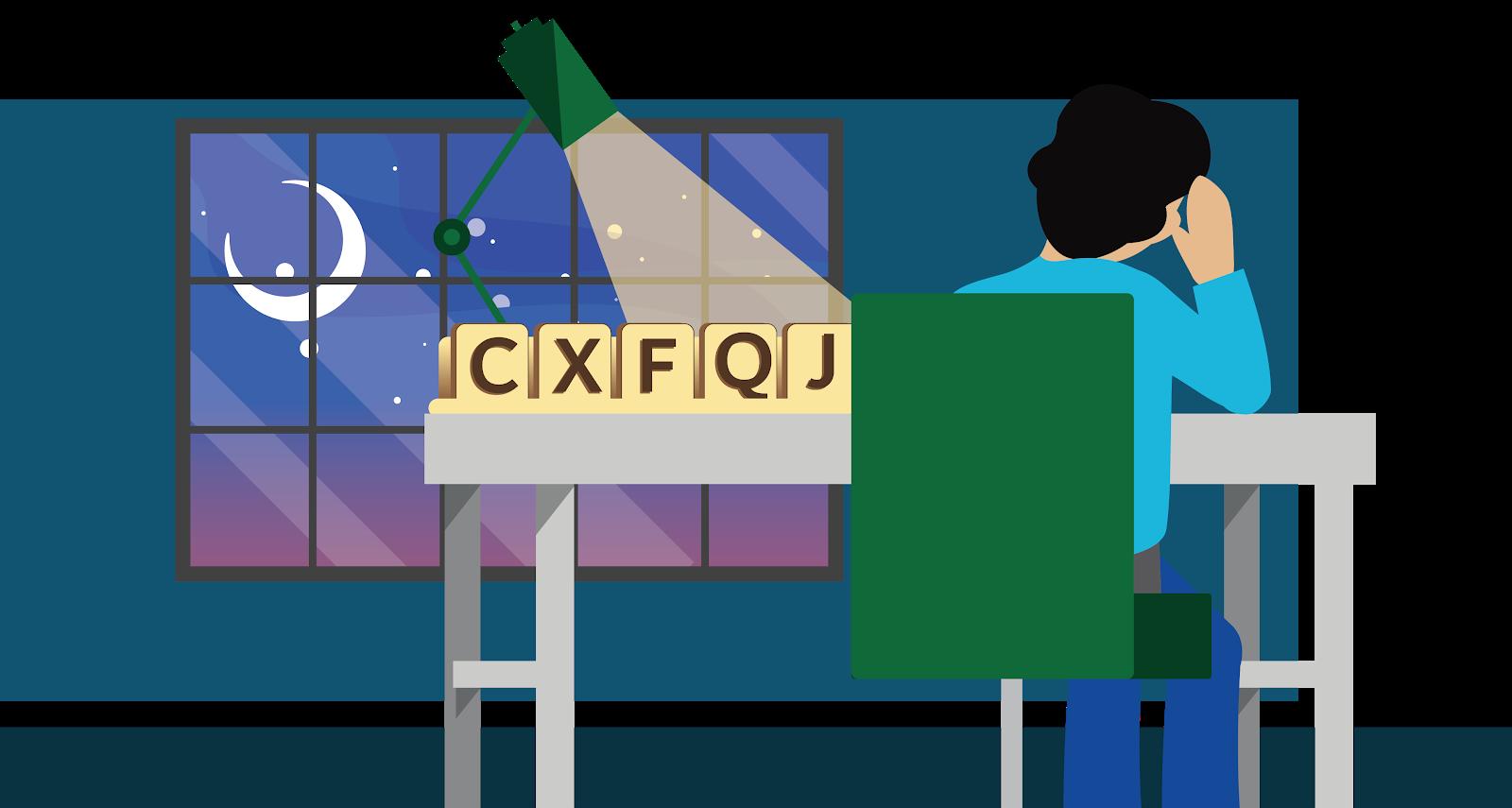 スクラブルの大きな文字 CXFQJ を見ながらデスクに座る人物
