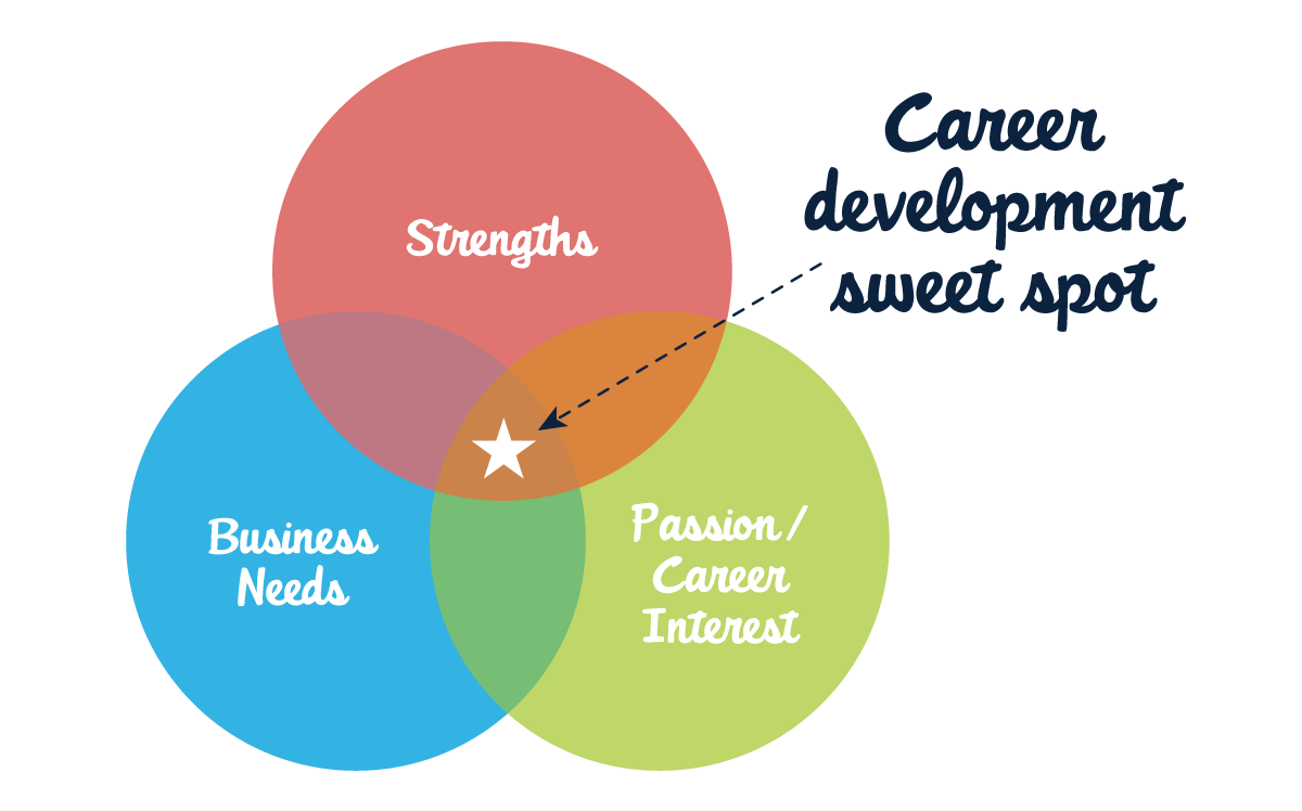 Find the career development sweet spot between your strengths, passion/career interest, and business needs.