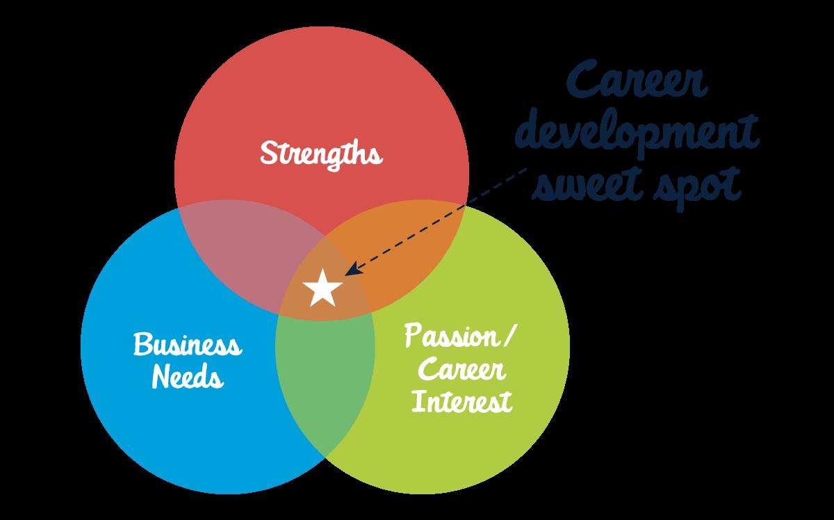 強み、情熱/キャリア上の関心事、ビジネスニーズの間でキャリア開発のストライクゾーンを見つけます。