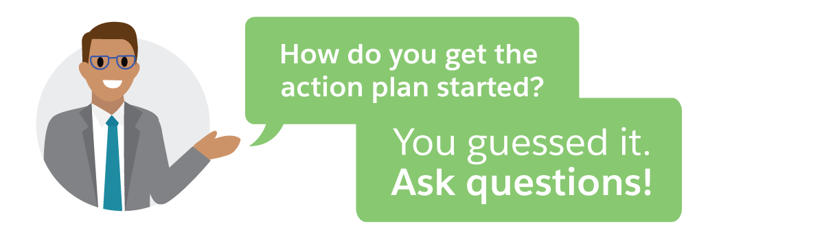 Get an action plan started by asking questions.