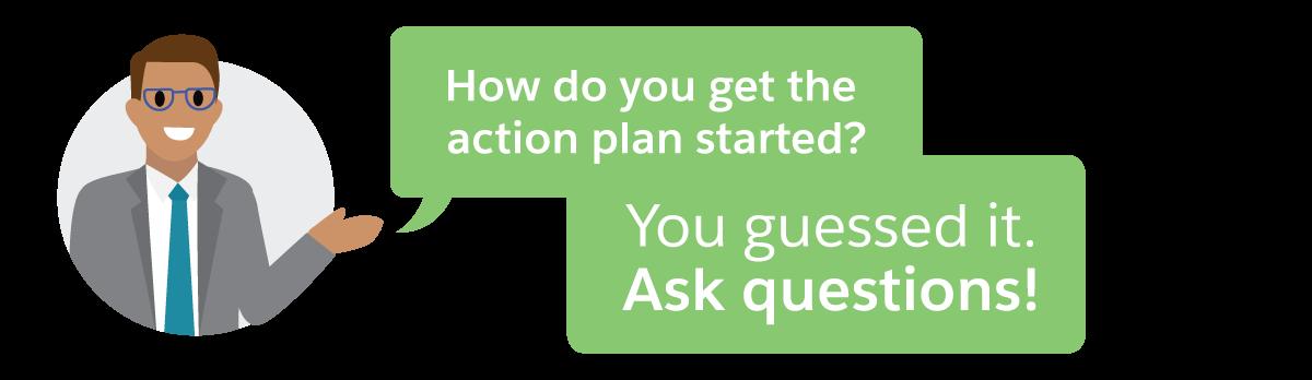 アクションプランを作成するには、まず質問をします。
