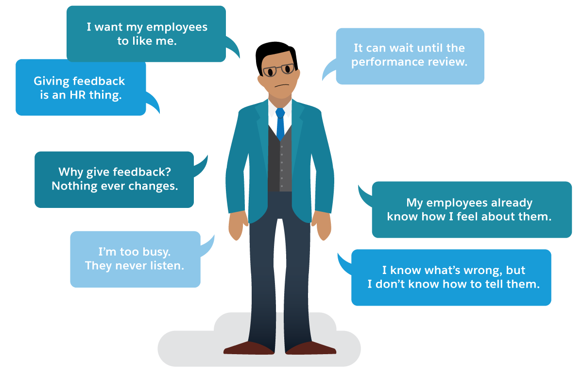 "Why aren't managers giving feedback? A man with thought bubbles thinks ""I want my employees to like me."" and ""It can wait until the performance review."""