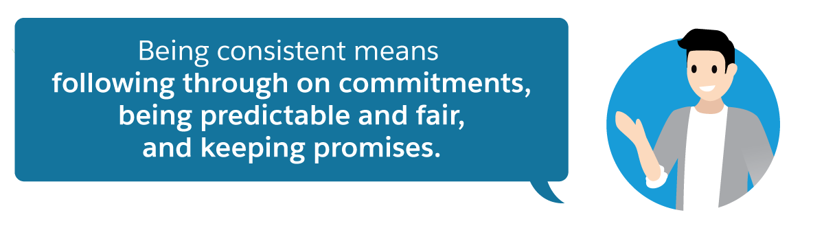 Being consistent means following through on commitments, being predictable and fair, and keeping promises.