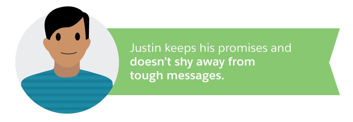 Justin keeps his promises and doesn't shy away from tough messages.