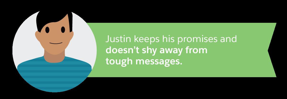 Justin は約束を守り、つらいメッセージを避けることはありません。