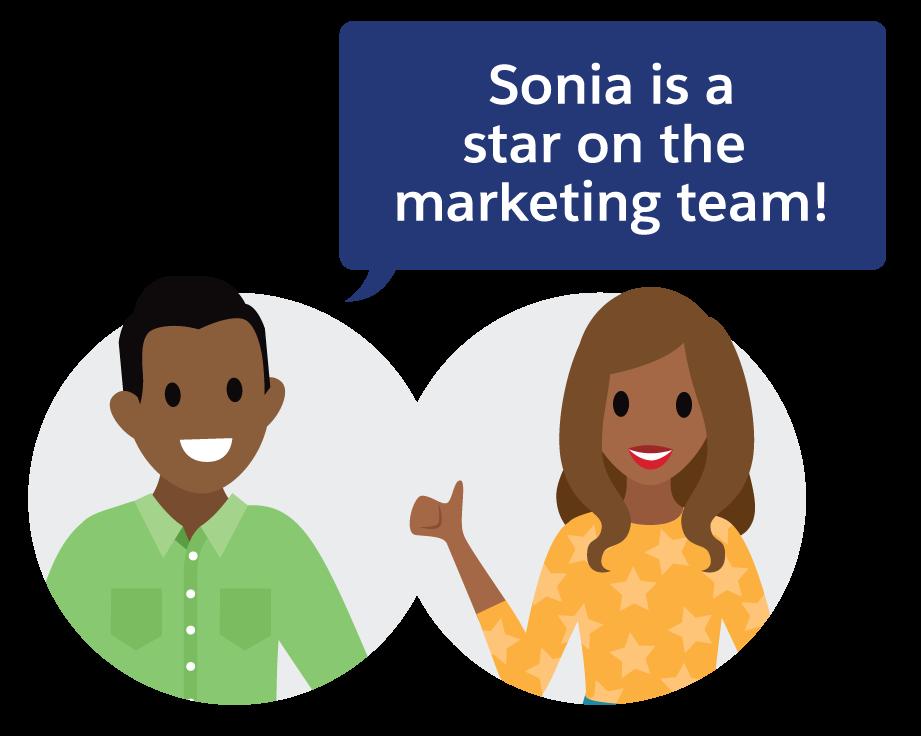 Sonia est une star de l'équipe marketing!