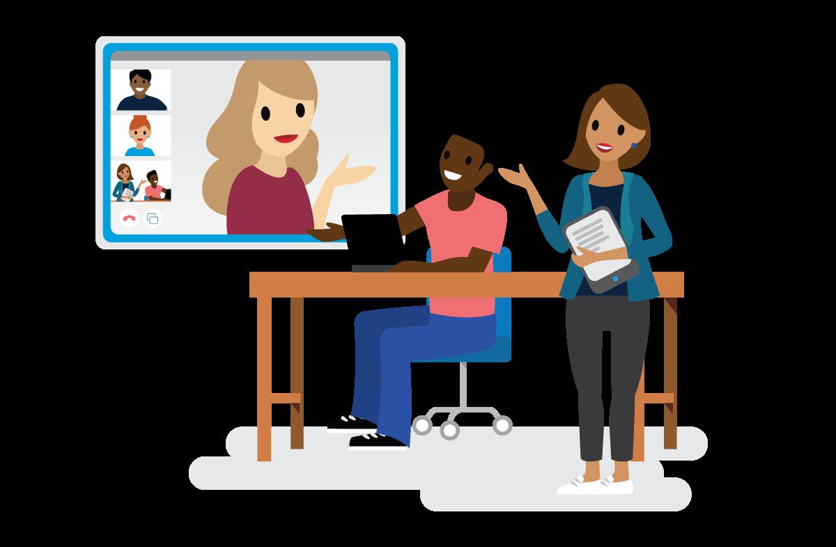 Besprechung zwischen Personen, die sich in einem Besprechungsraum befinden bzw. per Video online dazu geschaltet sind.