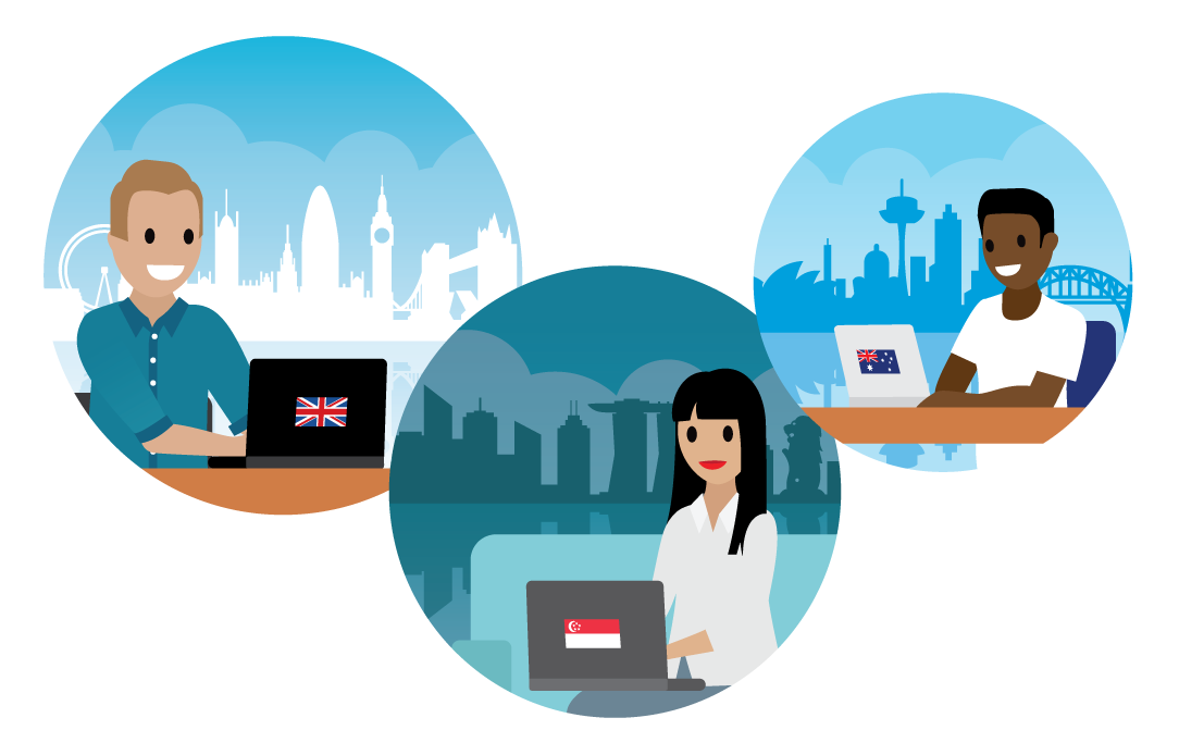 Drei Szenen: Mann in Büro mit Blick auf Sydney, Frau in Büro mit Blick auf Singapur, Mann zu Hause mit Blick auf London.