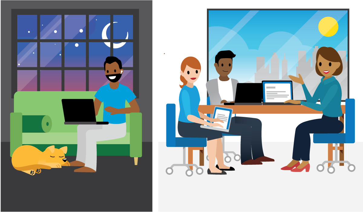 Two different scenes: one daytime scene with people in the office speaking on a phone conference, another nighttime scene with dog sleeping on the floor and man communicating by way of a computer.