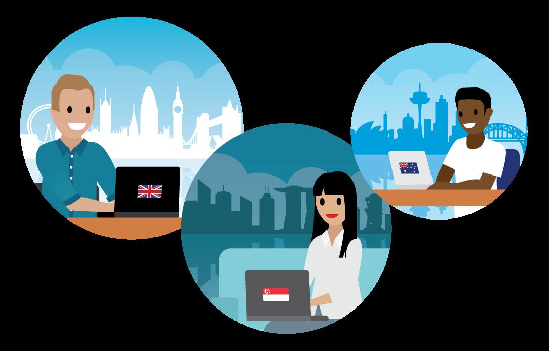 3 つの場面: シドニーの景色が見えるオフィスにいる男性、シンガポールの景色が見えるオフィスにいる女性、ロンドンの景色が見えるオフィスにいる男性