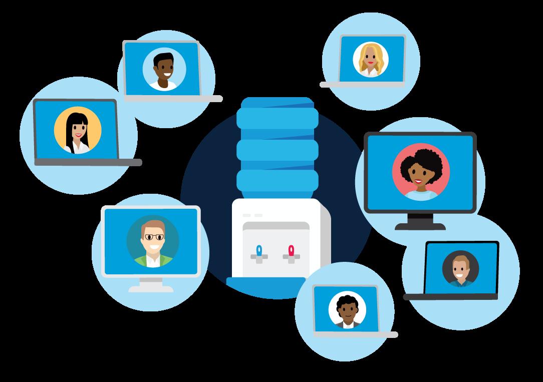Computadores que exibem participantes online em vídeo ao redor de um bebedouro virtual