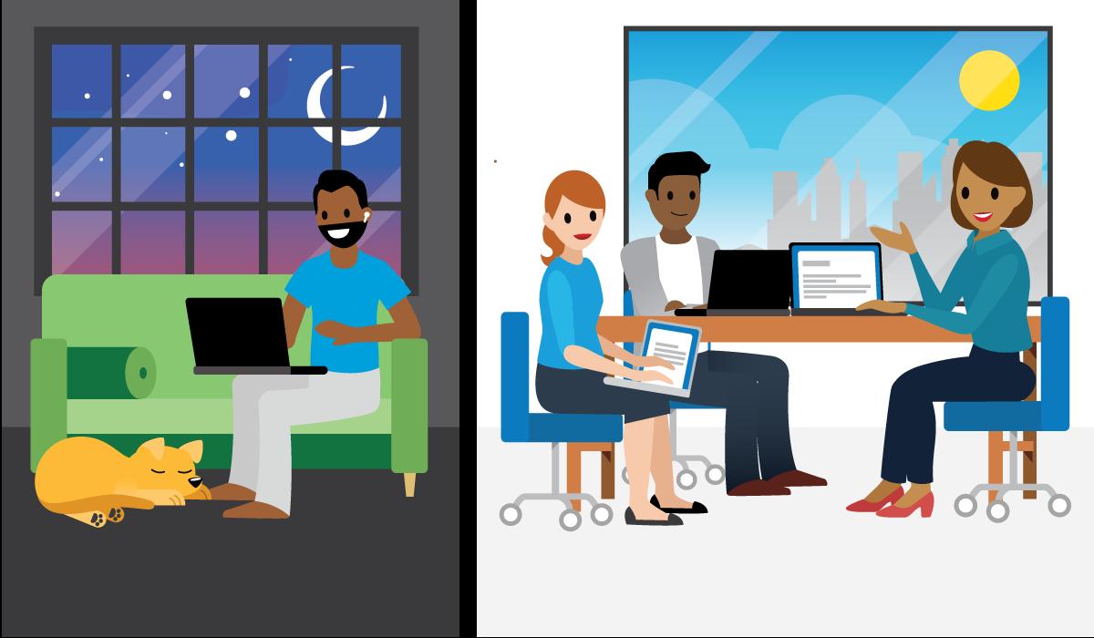 Duas cenas diferentes: uma cena, diurna, com pessoas no escritório falando em uma conferência por telefone; outra cena, noturna, com um cachorro dormindo no chão e uma pessoa se comunicando por meio de um computador.