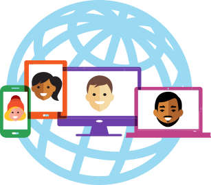 Different devices displaying different people's faces with a globe backdrop.
